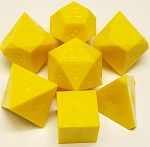 7 Piece Opaque Yellow Polyhedral Set - Plain