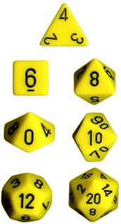 Chessex Yellow w/Black Opaque Polyhedral 7-Die Set